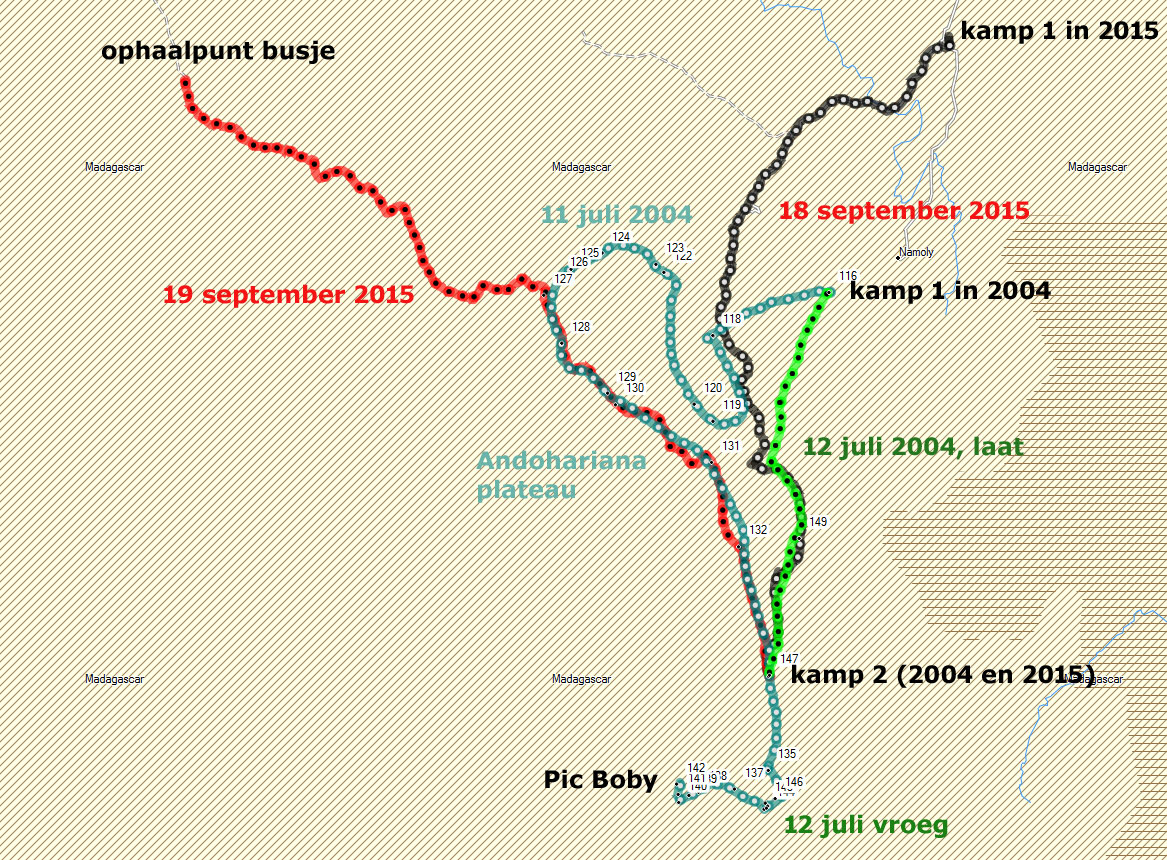 De kaart in @D formaat van de gelopen trekking in 2004 en 2015