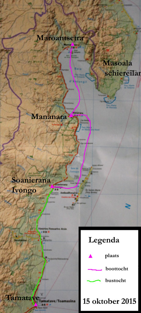 Kaart van de gemaakte tochten (boottocht en bustocht) op 15 oktober