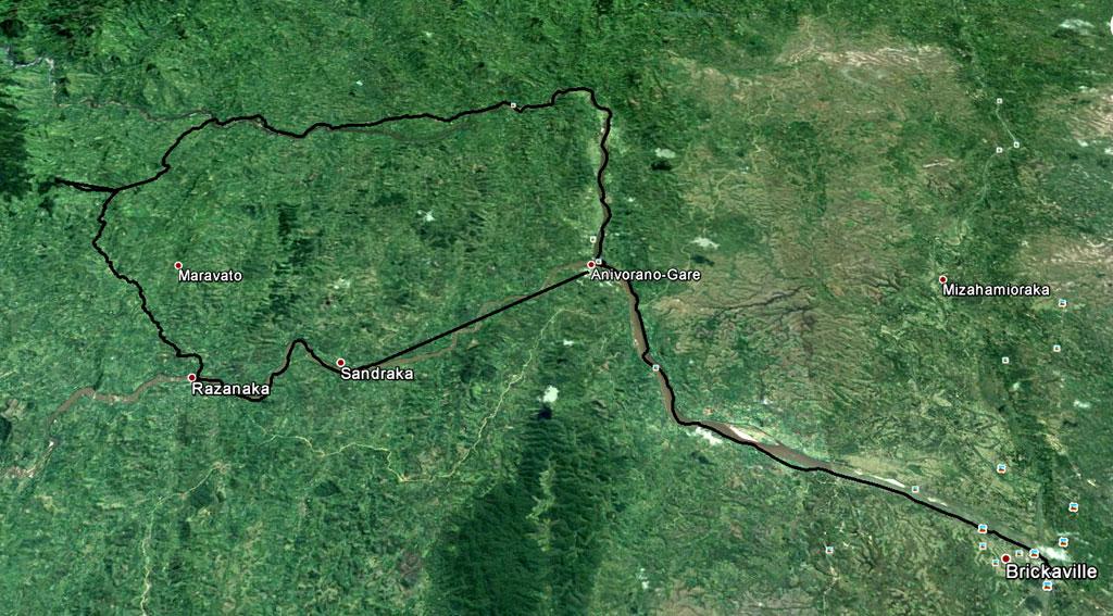 Weergave van de Sauvage trekking op een Google Earth foto