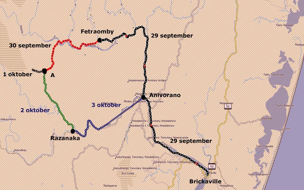 Kaart van de gelopen en gevaren afstanden in de Sauvage trekking